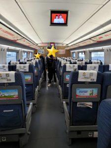 中国の新幹線の内部